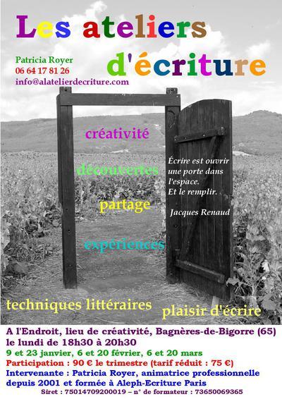 Ateliers d'écriture Bagnères de Bigorre - janvier 2017