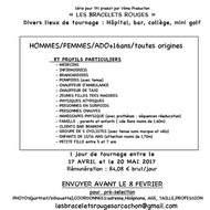 """urgent casting téléfilm TF1 """"les bracelets rouges"""""""
